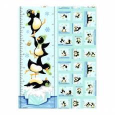 Patchworkstoff Kinder-Panel *Pinguin* World of Susybee Messlatte Pinguin blau schwarz weiß türkis eisblau grün 73 x 110 cm SB20237