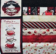 Stoffpaket *Time For Hot Cocoa* 1 Panel 7 Stoffe Kakao Sahne Becher Tasse Streifen Punkte rot creme schwarz SP21-0012