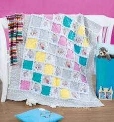 Materialpackung RAG-Quilt Kinder-Quilt *Olaf & Friends* 115 x 127 cm Olaf Elsa Anna rosa türkis gelb weiß grau MP21-0196