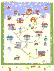 Angebot Monat Oktober Adventskalender Panel *Snow Village* Häuschen Schnee Winter weiß blau rot Sf MCS16-040