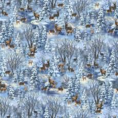 Baumwollstoff Patchworkstoff *Blue Twilight Christmas Forest* Winter Wald Reh Hirsch blau weiß braun C8663-BLUE
