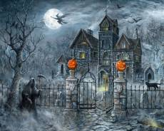 Baumwollstoff Patchworkstoff *Uninvited Guest* Digital Panel 90 x 110 cm Geister Schloss Halloween Spukhaus schwarz grau blau weiß orange AL40620C1