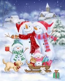 Baumwollstoff Patchworkstoff *Snowman Family* Panel Digital 90 x 110 cm Schneemann Winter rot blau weiß schwarz AL-4826-1C