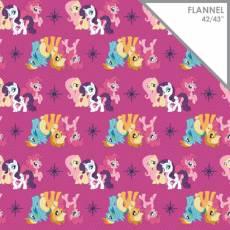 Patchworkstoff Flanell *My Little Pony Friends* Flannel Pony pink türkis rosa lila weiß Schneeflocken weiß grau blau CF 95010102B-2