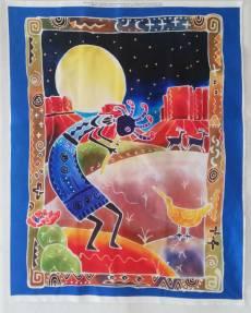Baumwollstoff Patchworkstoff *Kokopelli* Panel  90 x 110 cm Flötenspieler blau rot orange braun grün AL-3996-0C1