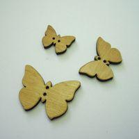 Knopf, Holzknopf Set - 3 Schmetterlinge, hell