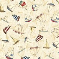 Maritim/Nautical Stoff Boote auf tan/beige 45x110cm