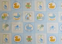 Patchworkstoff Stoff Quilt Baby Labels Blue blaue Quadrate