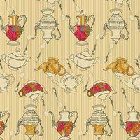 Patchworkstoff Quilt Stoff Splendor Tea Delights Honey Teekannen