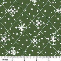 Patchworkstoff Quilt Winter Schneeflocken auf grün