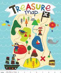 Patchworkstoff Quilt Stoff Treasure Map Schatzkarte Panel Pirat 90x110cm