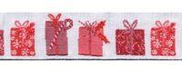 Schmuckwebband Weihnachtspäckchen rot-weiß, 2 cm breit