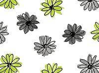Patchworkstoff Fantasia Blumen klein grün schwarz grau auf weiss