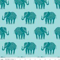 Patchworkstoff Quilt Stoff Elefanten Riley Blake blaue Elepfanten
