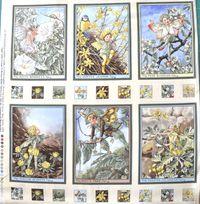 Elfe, Flower Fairy  6 kleine Panels Teil A, Sonnenschein; gesamt 60x56cm