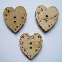 Knopf, Holzknopf Set - 3 Herzen mit Muster, groß 3cm