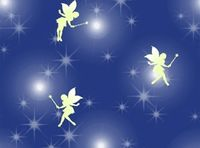 Patchworkstoff  Stoff Quilt Off to Neverland Tinkerbell auf blau lila
