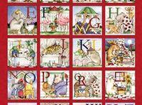 Patchworkstoff Stoff Quilt Tiere Bilder mit Alphabet auf rot Panel