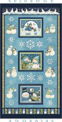 Patchworkstoff Quilt Winter Schneeman Panel 60x110cm