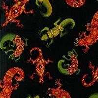 Patchworkstoff *Salamander* auf schwarzem Hintergrund