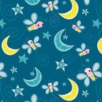 Patchworkstoff Quilt Stoff Dream a little Dream Mond Bienchen auf blau