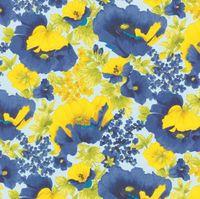 Patchworkstoff Blumen blau und gelb