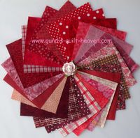 Patchworkstoff 25 Quadrate 5 Inch/13cm rote Stoffe