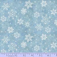 Patchworkstoff Winter, weisse Schneeflocken auf blau, 45x110cm