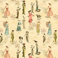 Patchworkstoff Quilt Stoff A Ladies' Diary Vintage Szene Frauen Mode