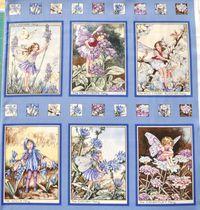 Elfe, Flower Fairy  6 kleine Panels Teil B, Kornblume; gesamt 60x55cm