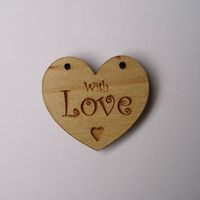 Knopf, Holzknopf Herz mit Aufschrift `With Love` 20mm