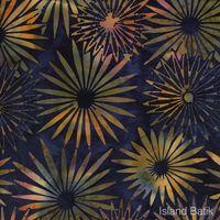 Patchworkstoff Quilt Stoff Batik Blumen auf dunkel