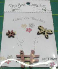 Knopf, Holzknopf TBM3 - 1 Blume, 1 Gartenzaun, 1 Schmetterling