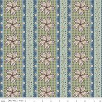 Patchworkstoff Riley Blake creme Blumen Streifen