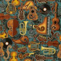 Patchwork Musikinstrumente Dan Morris auf türkis Reststück 0,80x1,10m