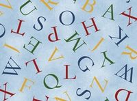 Patchworkstoff Stoff Quilt Buchstabensuppe auf blau