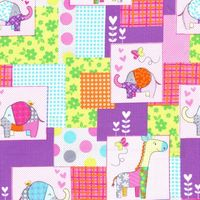 Patchworkstoff Quilt Stoff *Cute Zoo* Elefant, Giraffe Kinderstoff
