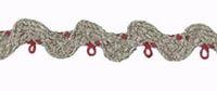 Leinen / Baumwolle Zackenlitze mit roten Knötchen 8 mm breit