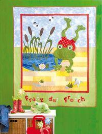 Materialpackung `Franz der Frosch` Quilt Tagesdecke 1,30 x 1,60 Kinder