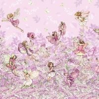 Patchworkstoff Quilt Stoff Fee, Elfe, Petal Flower Fairy Beistoff Border, pink; Cicely Mary Barker