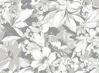 Patchworkstoff Fantasia Blumen gross grau weiss