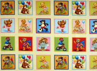 Patchworkstoff Stoff Quilt Bear Label Teddys Quadrate cremefarben 1011-1
