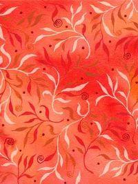 Patchworkstoff Quilt Stoff orange mit Ranken