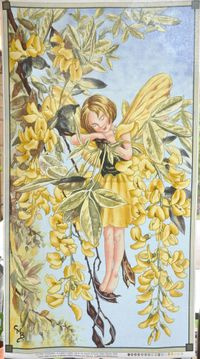 Patchworkstoff Elfe, Flower Fairy Panel Sunshine, Sonnenschein; 60x112cm