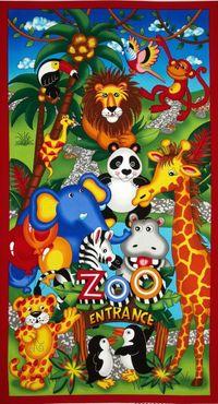 Patchworkstoff Quilt Stoff Panel Zoo 60cm x 110cm