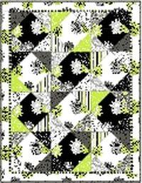 Kostenlose Nähanleitung für Quilt Fantasia grün schwarz weiss von Studio 8