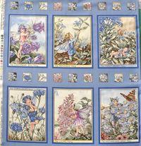 Elfe, Flower Fairy  6 kleine Panels Teil A, Kornblume; gesamt 60x55cm