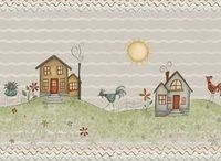 Patchworkstoff Quiltstoff Streifenstoff *Home to Roost* Haus Häuser Hahn Wiese Blumen grau grün rot RR23451