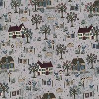Patchworkstoff Quilt Stoff Lynette Anderson Quilters Garden Szene Häuser
