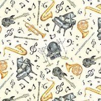 Patchwork Musikinstrumente Stoff auf beige